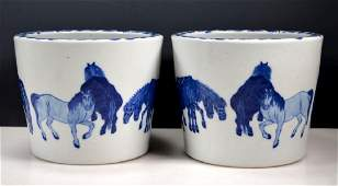 Pr Chinese Blue & White Porcelain 8 Horse Planters