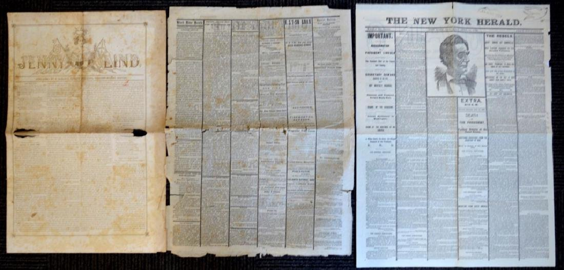 3 Newspapers; Jenny Lind in Gold, Lincoln's Death