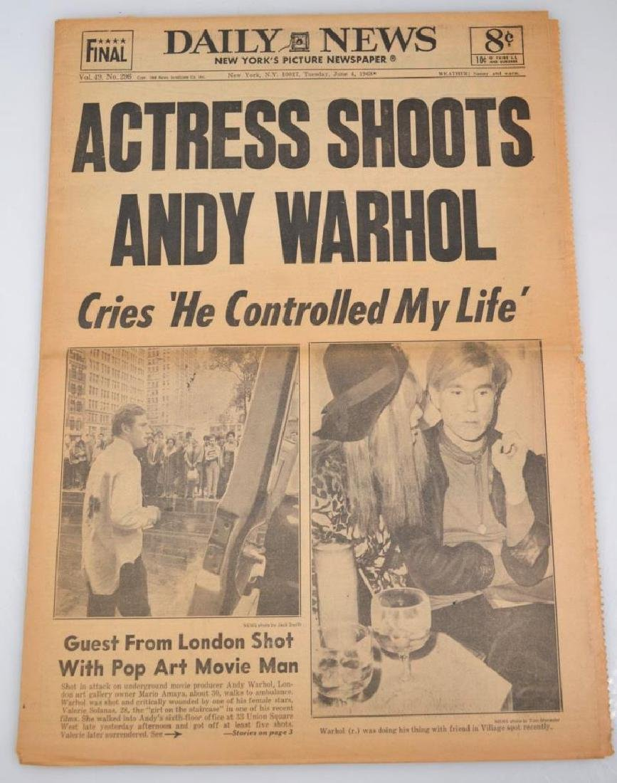 "Daily News 1968; ""Actress Shoots Andy Warhol"""