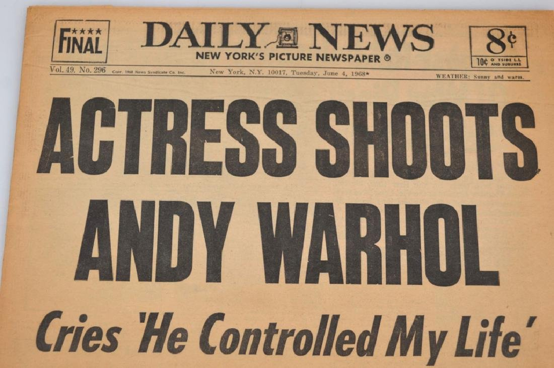 "Daily News 1968; ""Actress Shoots Andy Warhol"" - 2"