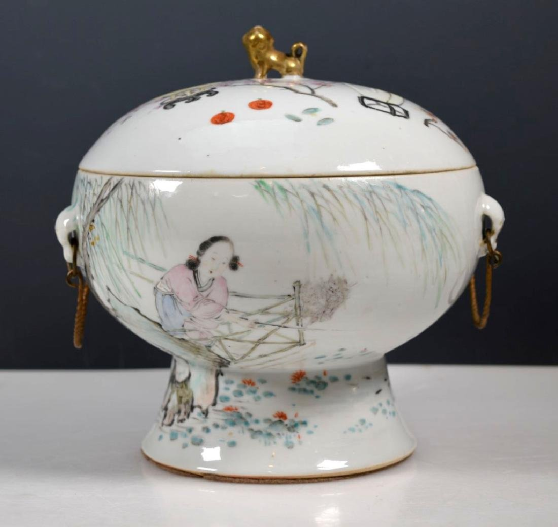 19th C Chinese Artist-Painted Porcelain Stem Bowl