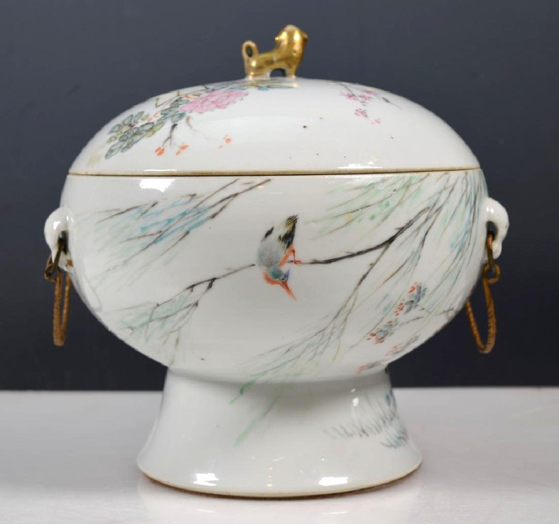 19th C Chinese Artist-Painted Porcelain Stem Bowl - 2