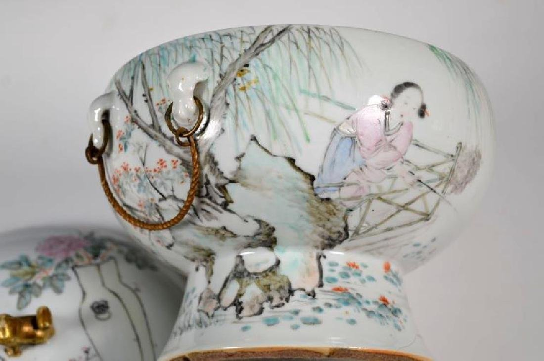 19th C Chinese Artist-Painted Porcelain Stem Bowl - 3