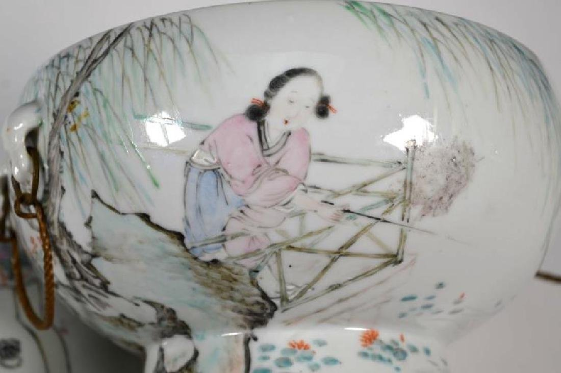 19th C Chinese Artist-Painted Porcelain Stem Bowl - 4