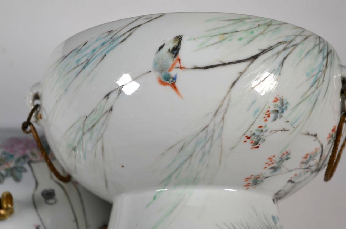 19th C Chinese Artist-Painted Porcelain Stem Bowl - 5