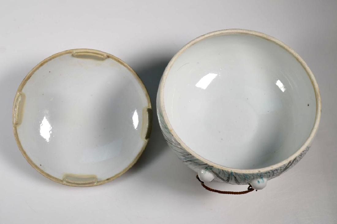 19th C Chinese Artist-Painted Porcelain Stem Bowl - 7