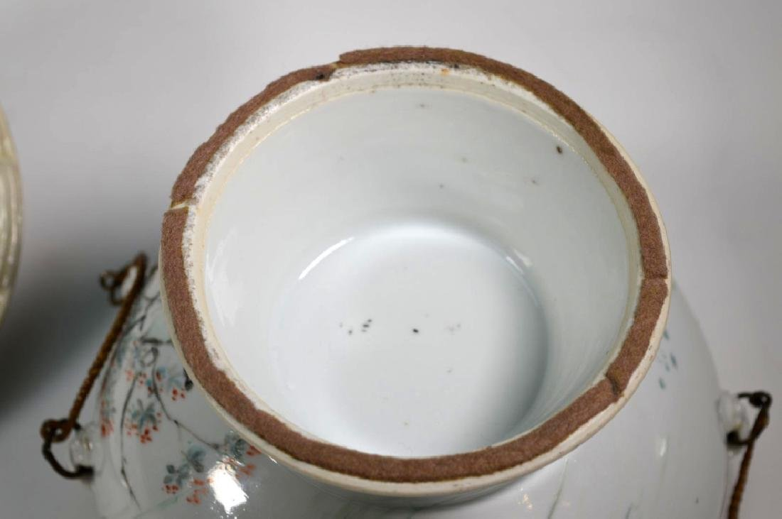 19th C Chinese Artist-Painted Porcelain Stem Bowl - 8