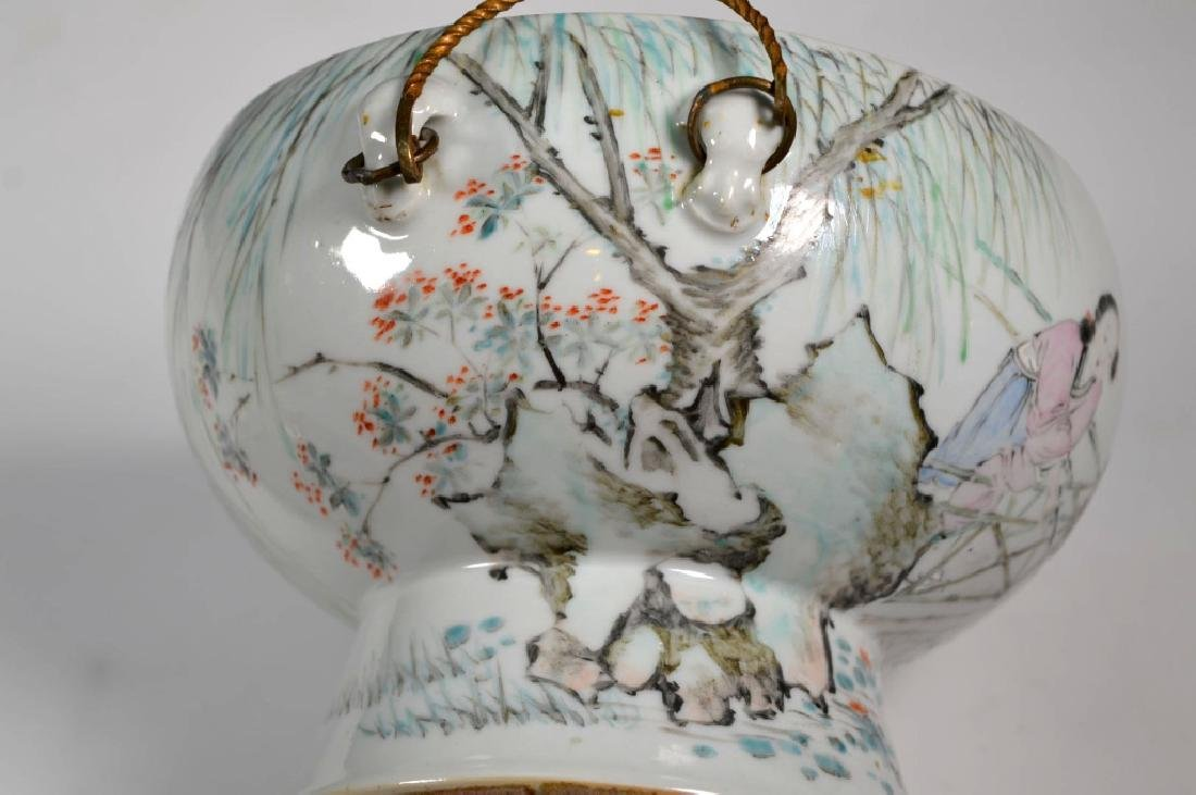 19th C Chinese Artist-Painted Porcelain Stem Bowl - 9
