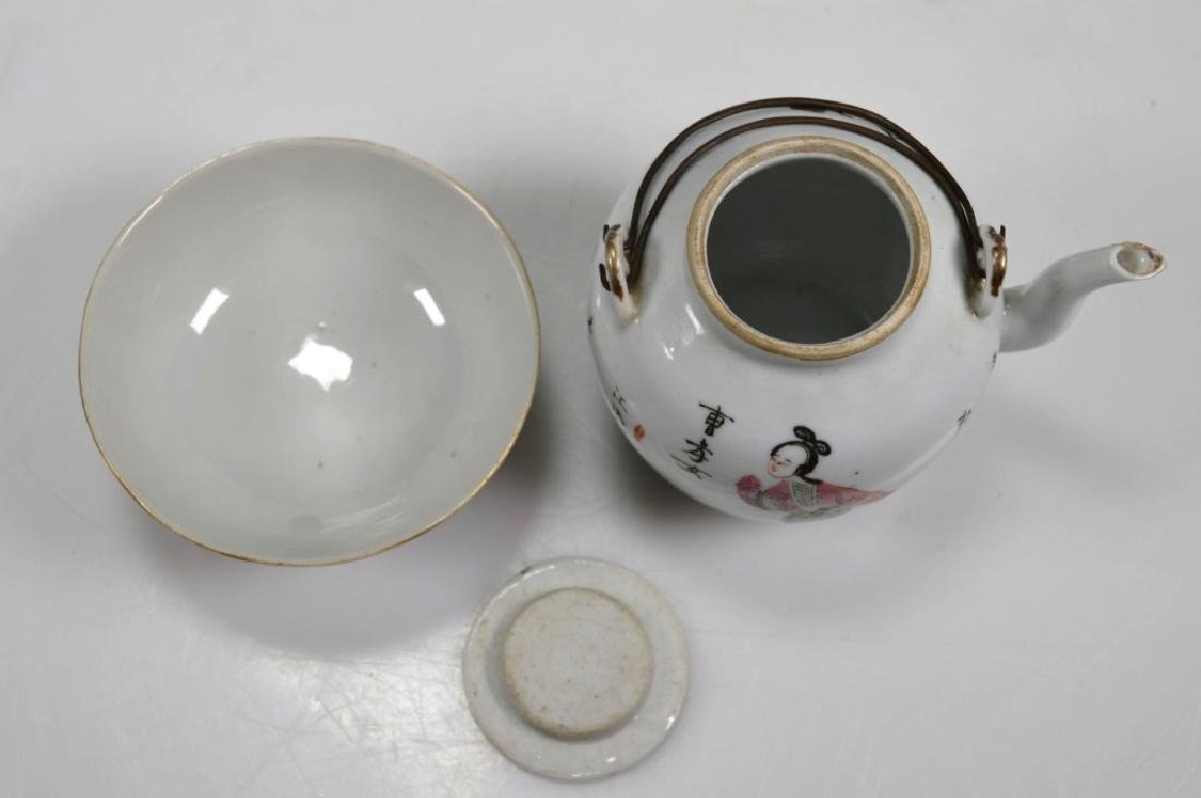 3 - 19thC Chinese Porcelains; Plate Teapot Teacup - 9