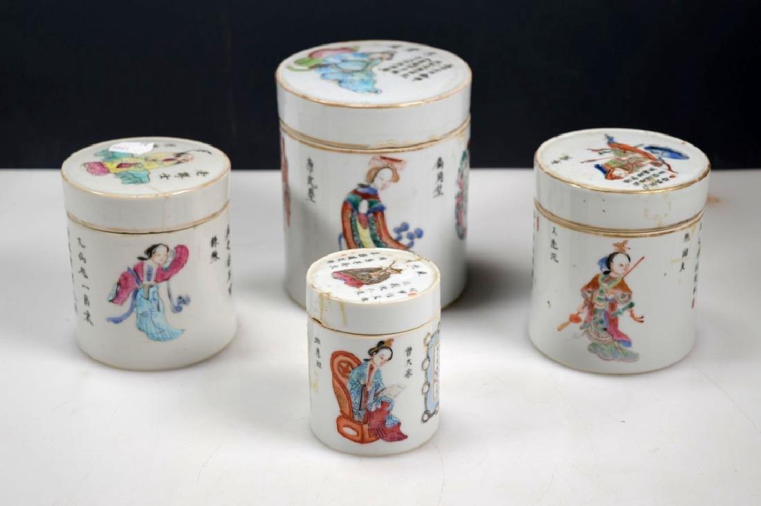 4 - 19thC Chinese Enameled Porcelain Jars & Covers