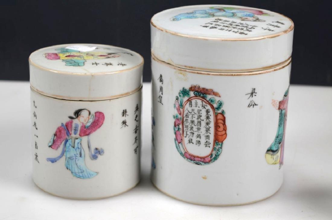 4 - 19thC Chinese Enameled Porcelain Jars & Covers - 3
