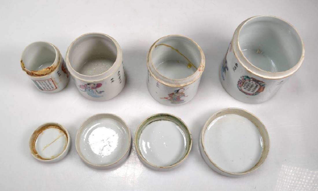 4 - 19thC Chinese Enameled Porcelain Jars & Covers - 7