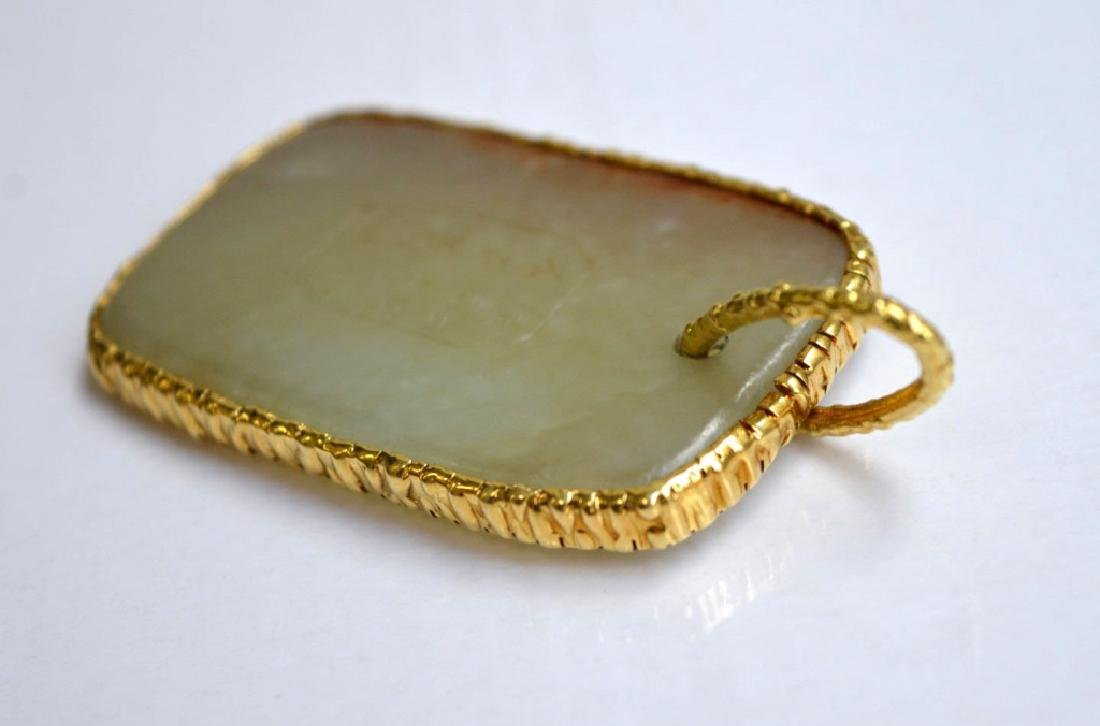 Fine 18th/19th C Chinese Jade Pebble Pendant 18K - 5