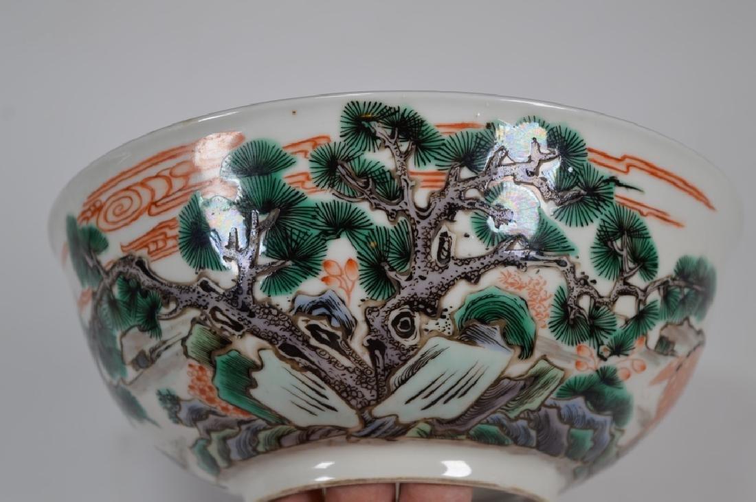 Fine Qing Chinese Famille Verte Porcelain Bowl - 2