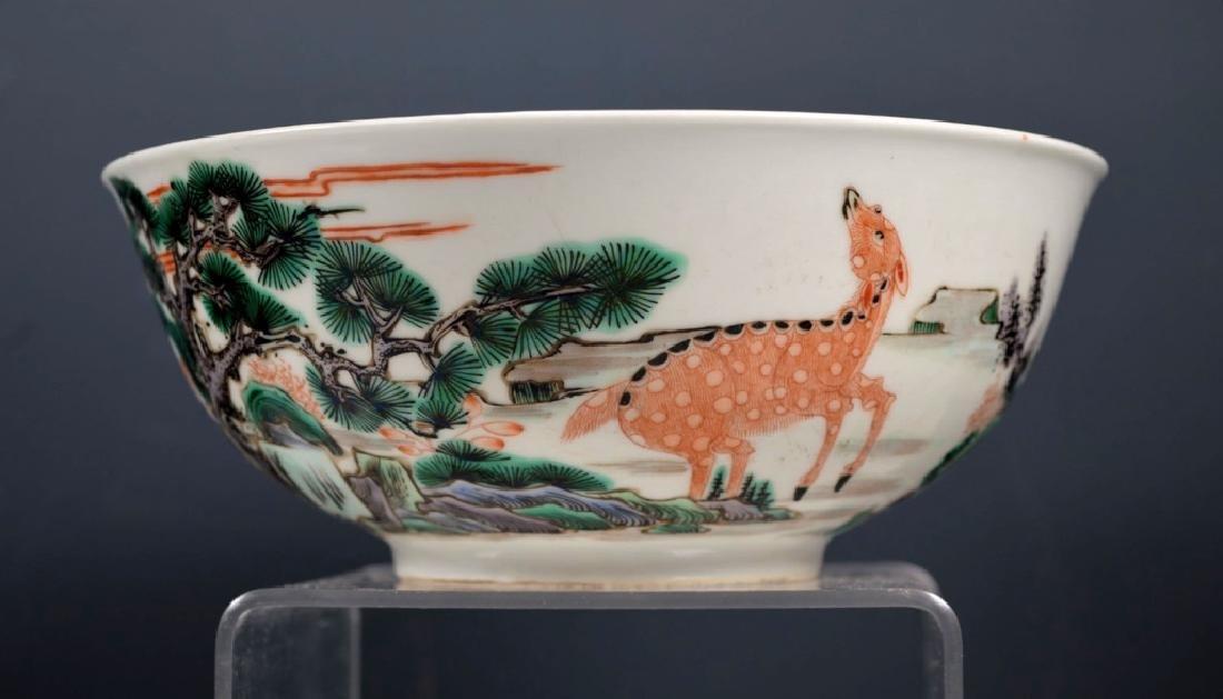 Fine Qing Chinese Famille Verte Porcelain Bowl - 3