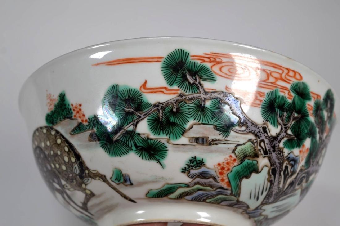 Fine Qing Chinese Famille Verte Porcelain Bowl - 4