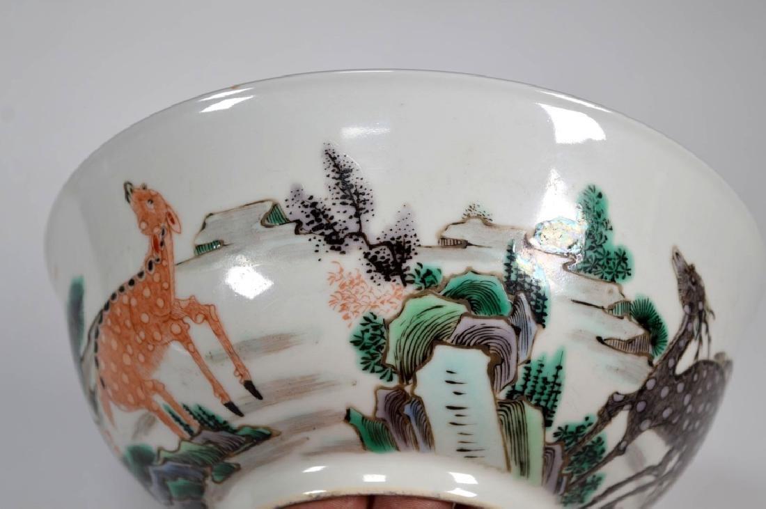 Fine Qing Chinese Famille Verte Porcelain Bowl - 5