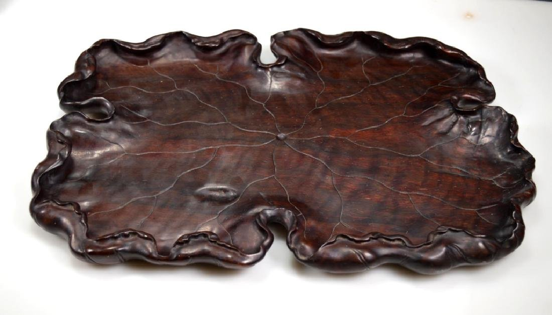 Well Carved Chinese Lychee Wood Leaf Tray