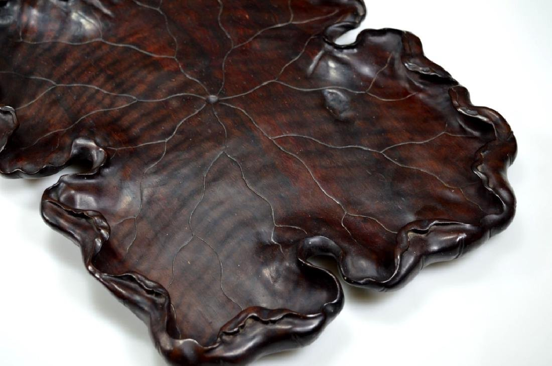 Well Carved Chinese Lychee Wood Leaf Tray - 3