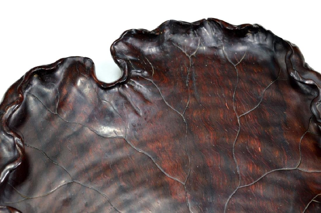 Well Carved Chinese Lychee Wood Leaf Tray - 4