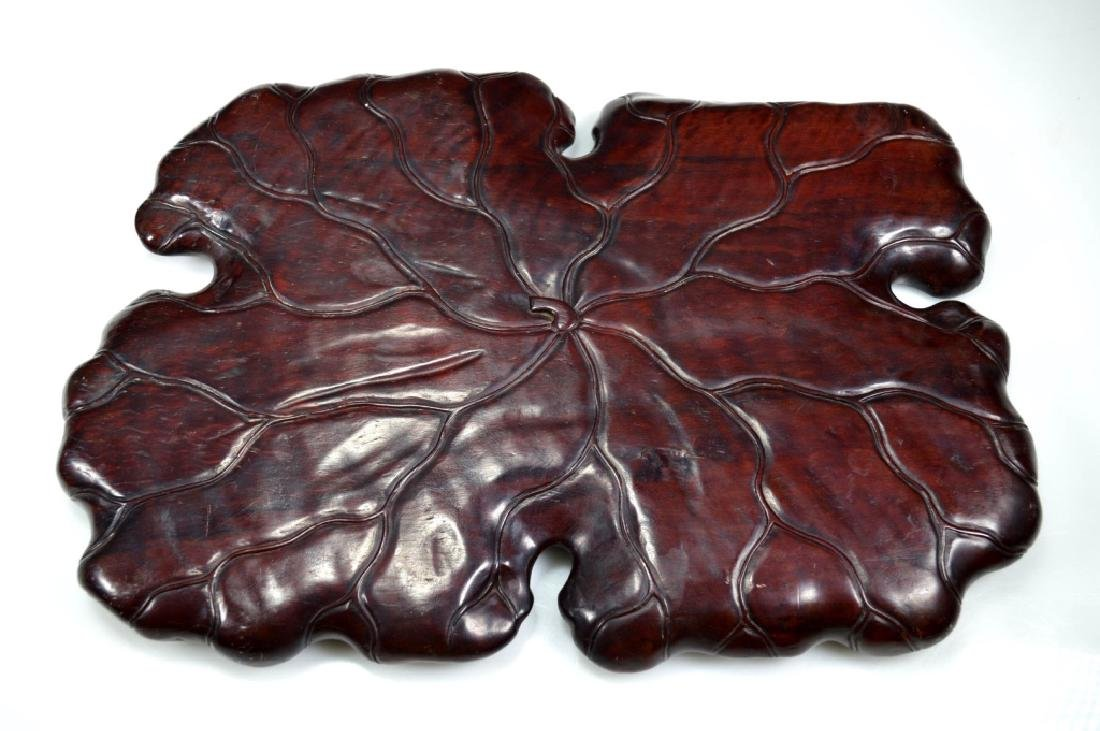 Well Carved Chinese Lychee Wood Leaf Tray - 5