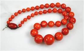 Good Antique Dark Coral Round Bead Necklace 845G