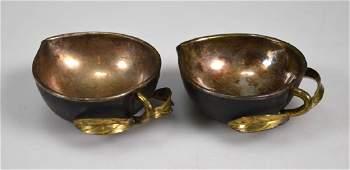 Pr 17th/18th C Chinese Silver Gilt Iron Peach Cups