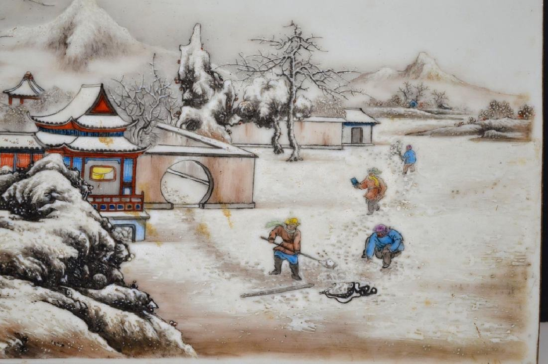 Wang wenhao; Chinese Winter Porcelain Plaque - 2
