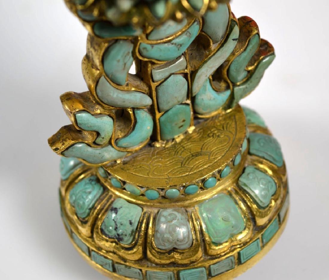 19C Chinese Gilt Bronze & Turquose Buddhist Object - 10
