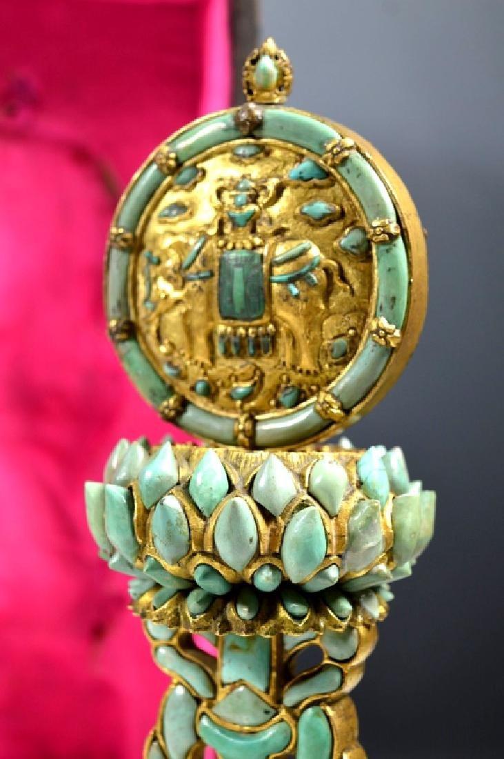 19C Chinese Gilt Bronze & Turquose Buddhist Object - 6