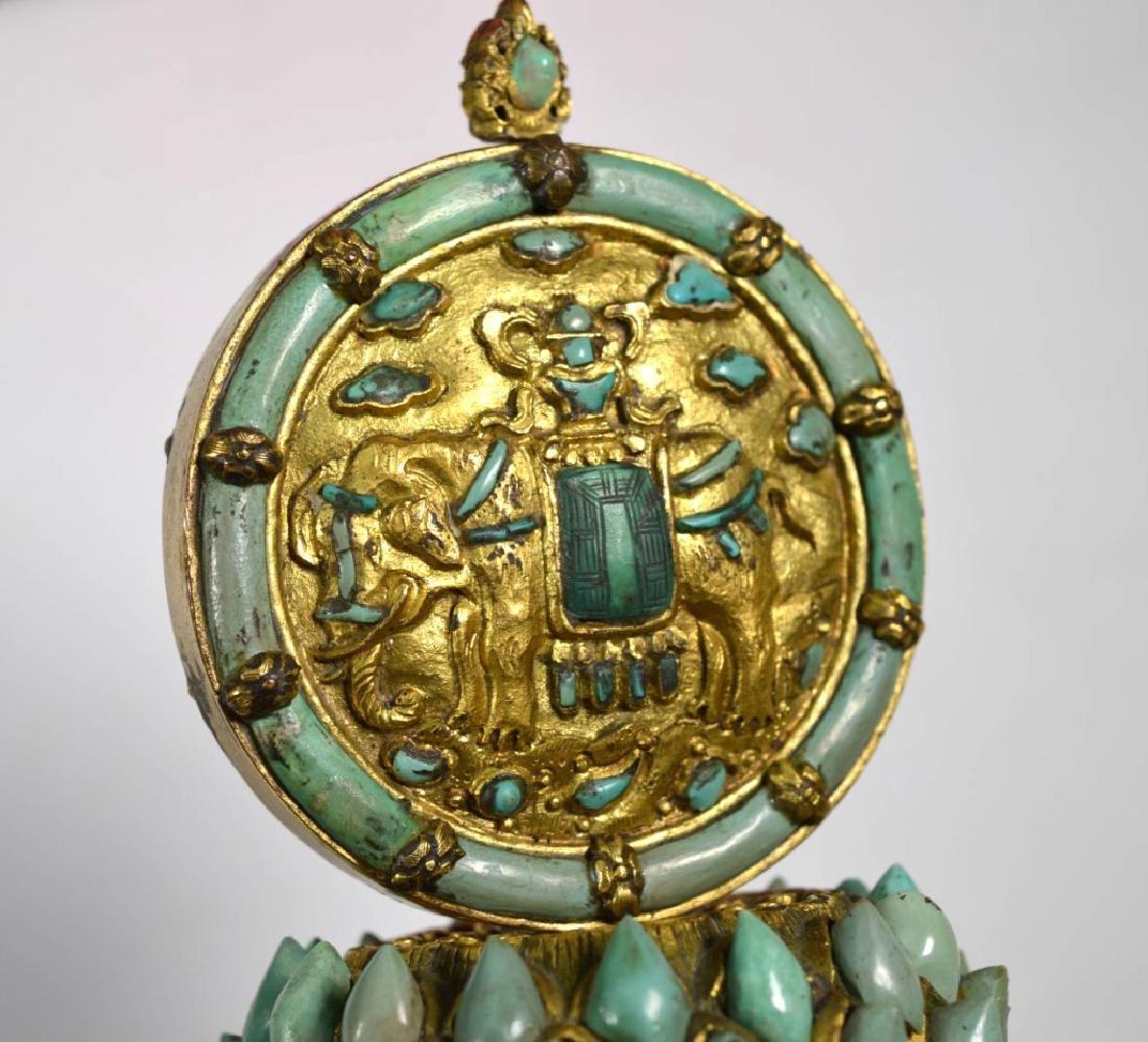 19C Chinese Gilt Bronze & Turquose Buddhist Object - 7