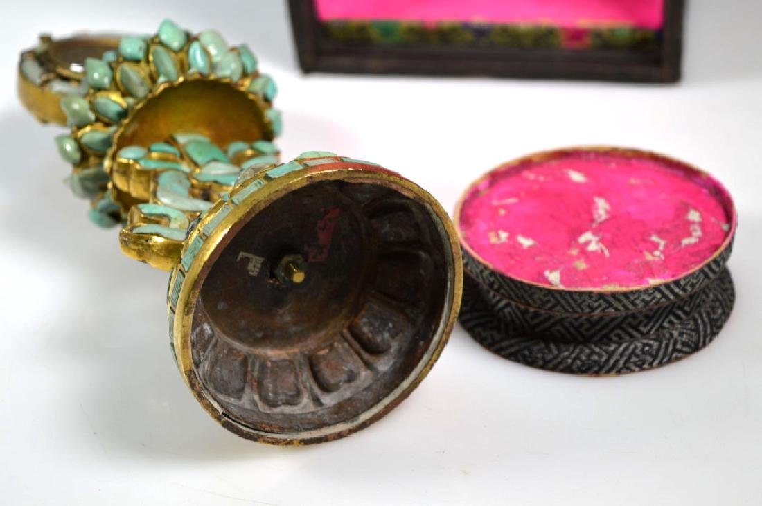 19C Chinese Gilt Bronze & Turquose Buddhist Object - 8