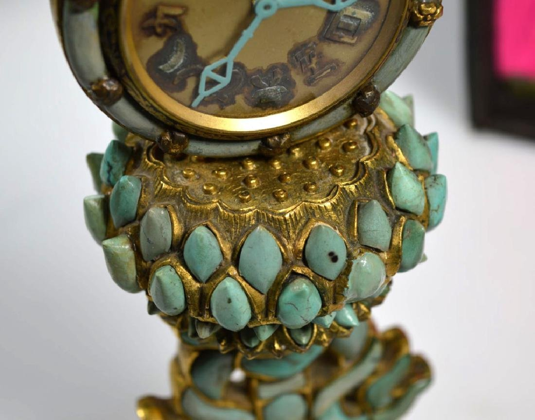 19C Chinese Gilt Bronze & Turquose Buddhist Object - 9