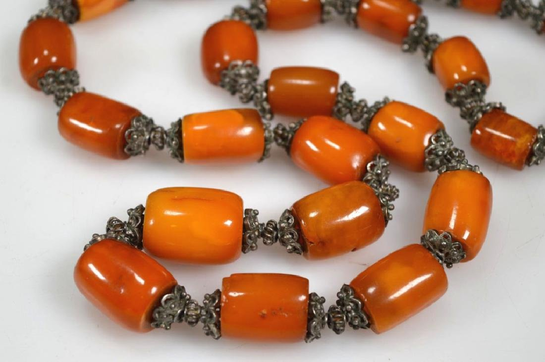 Chinese Amber & Silver Bead Necklace; 128G - 2