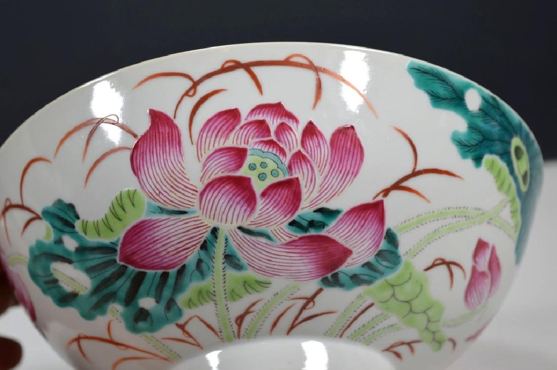 Chinese Famille Rose Porcelain Lotus Bowl - 3
