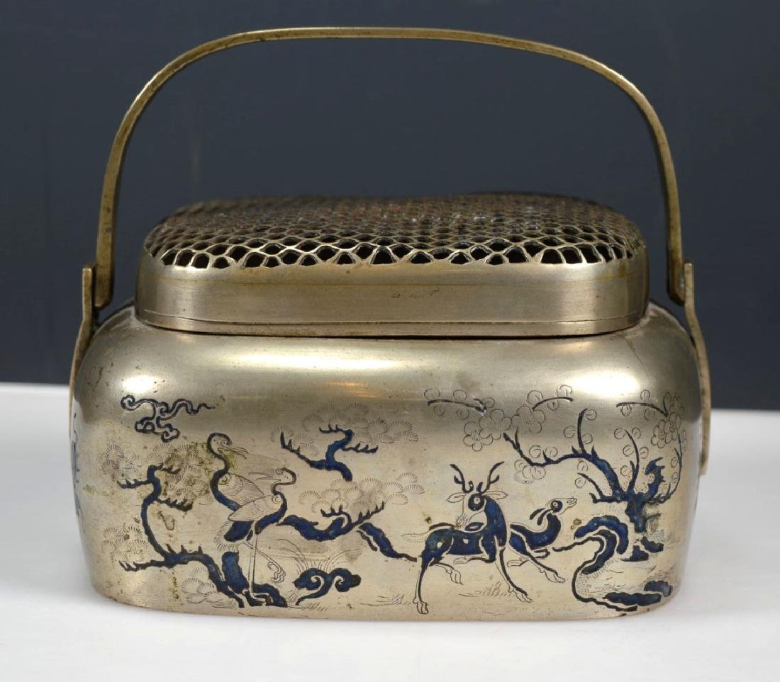 19thC Chinese White Bronze Blue Enamel Hand Warmer
