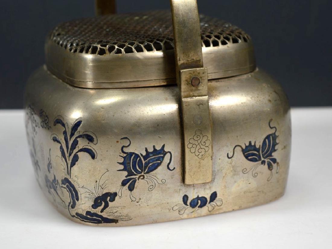 19thC Chinese White Bronze Blue Enamel Hand Warmer - 3