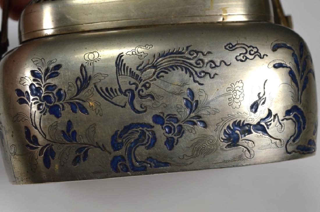19thC Chinese White Bronze Blue Enamel Hand Warmer - 5