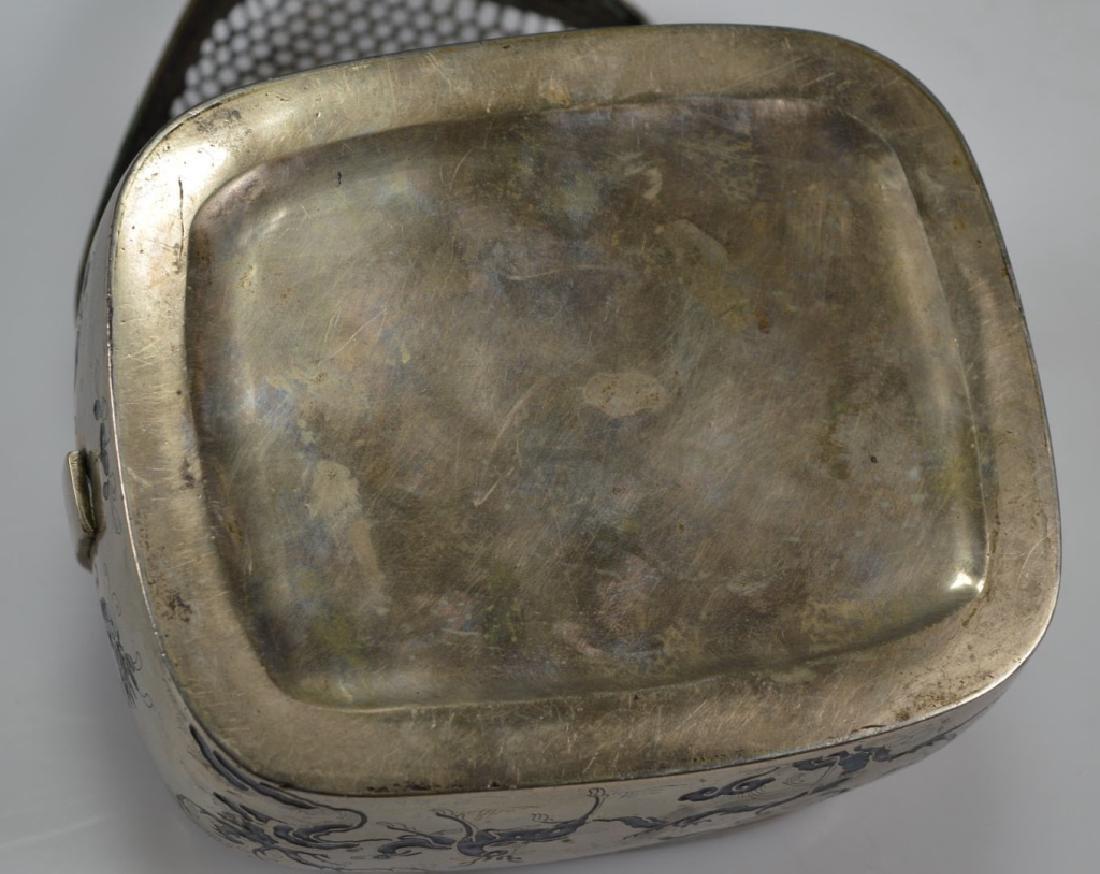 19thC Chinese White Bronze Blue Enamel Hand Warmer - 8