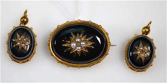 Antique Victorian Gold  Agate Pin  Earrings