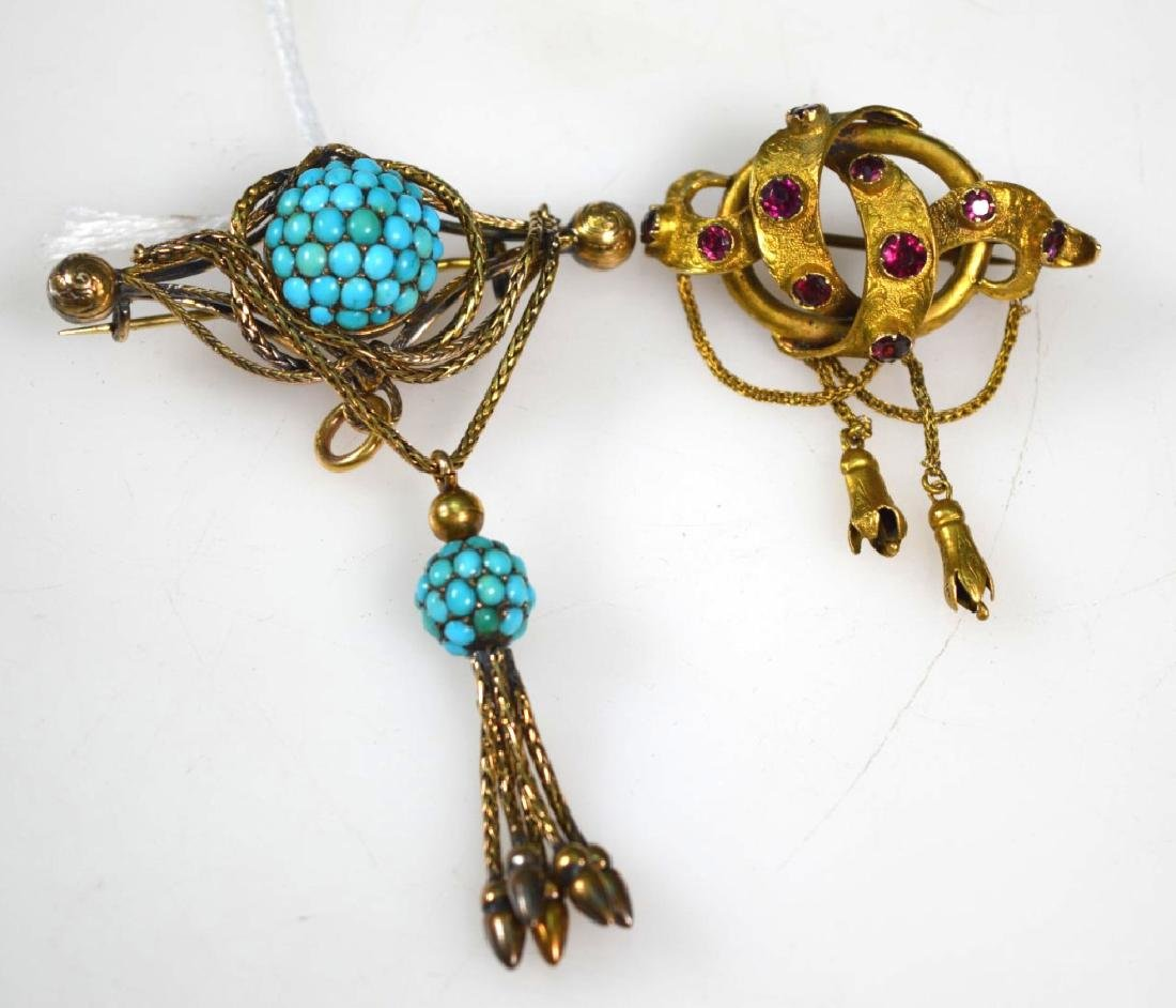 2Victorian Old Gold Pin, Turquoise Tassel Pin