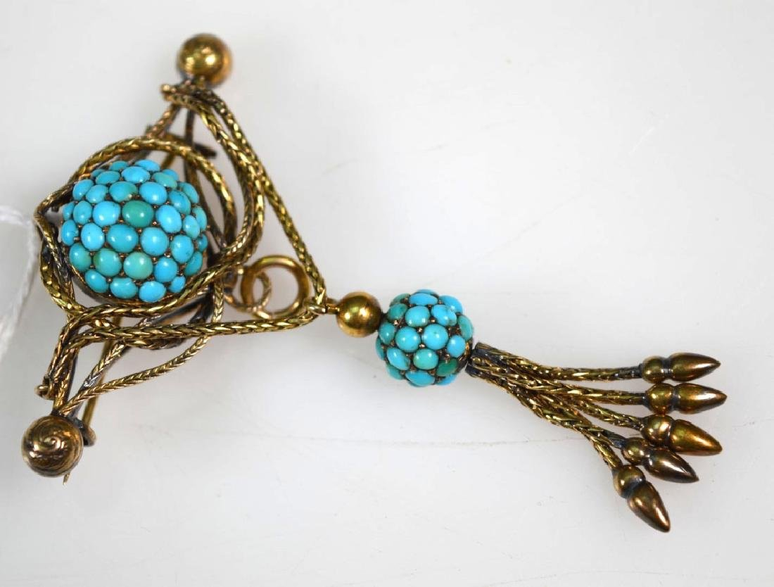 2Victorian Old Gold Pin, Turquoise Tassel Pin - 2