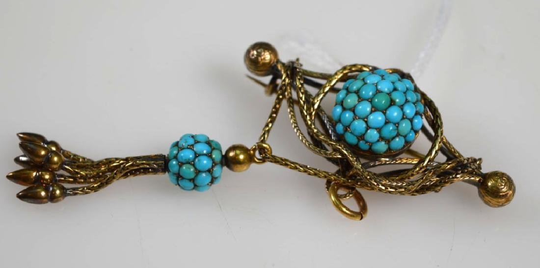 2Victorian Old Gold Pin, Turquoise Tassel Pin - 3