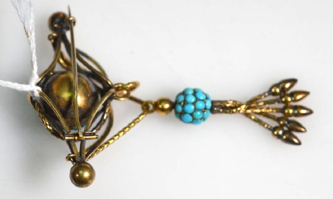 2Victorian Old Gold Pin, Turquoise Tassel Pin - 4