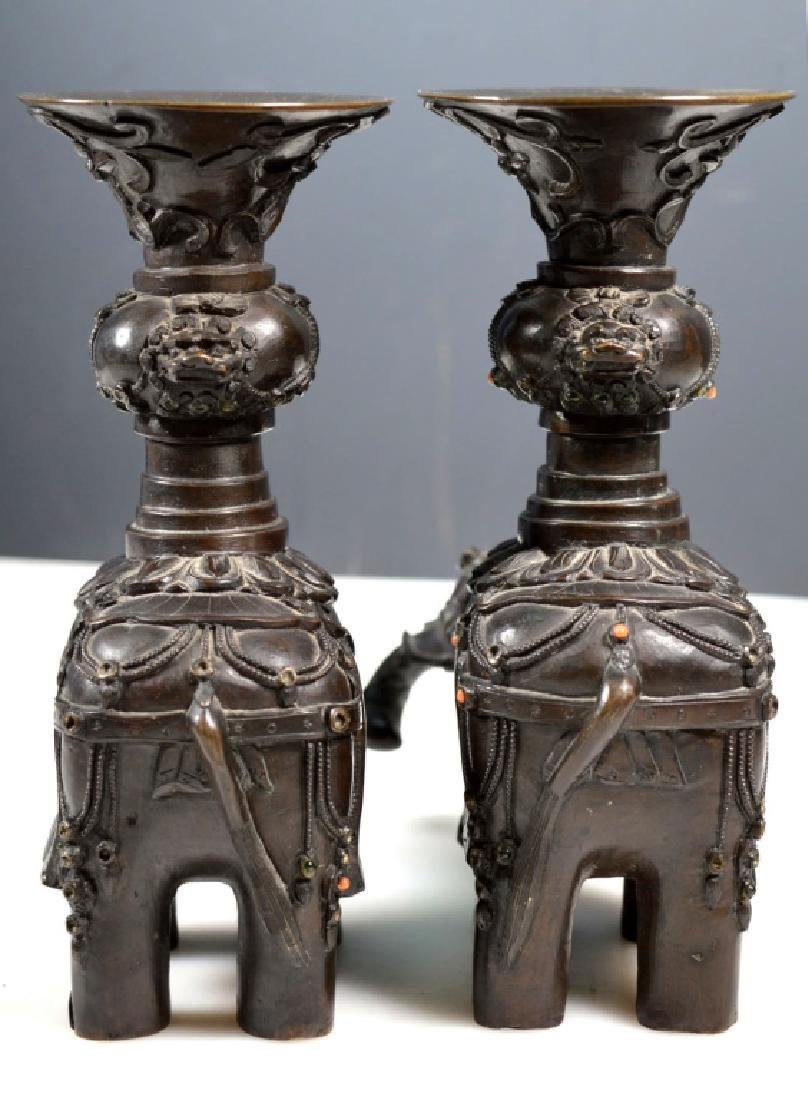 Pr Chinese Jeweled Bronze Elephants with Urns - 3