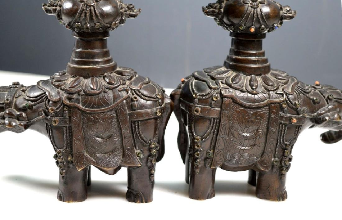 Pr Chinese Jeweled Bronze Elephants with Urns - 4