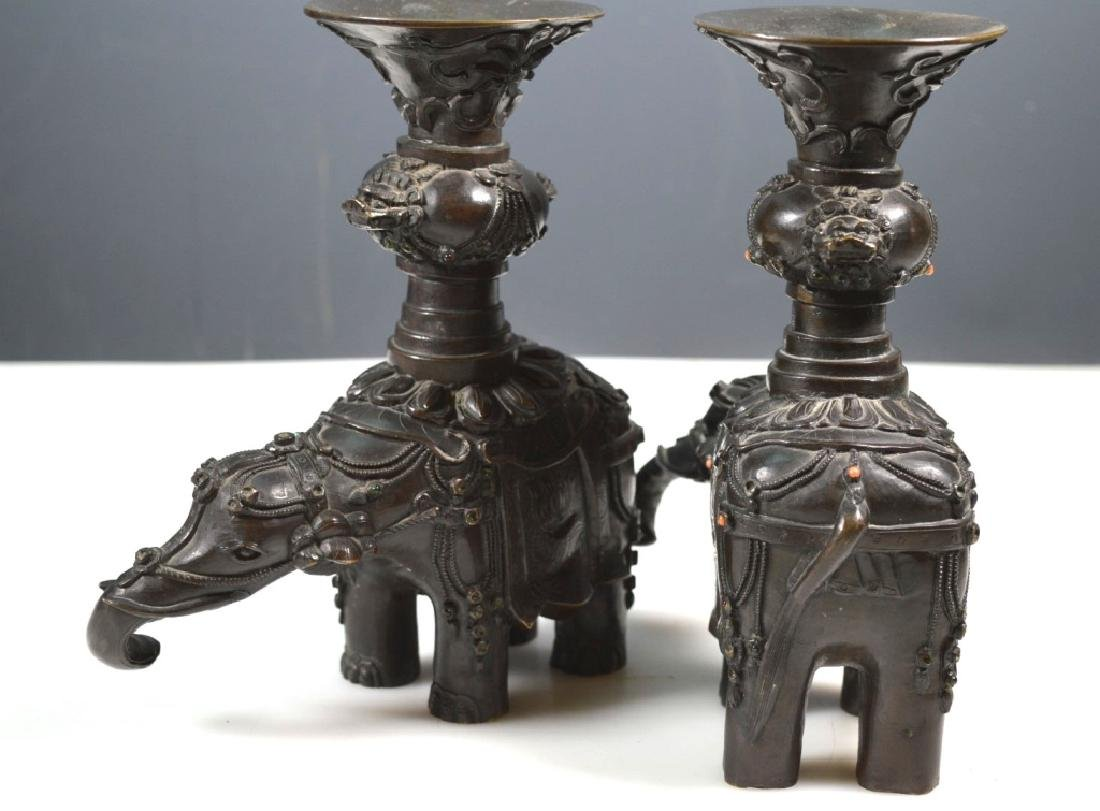 Pr Chinese Jeweled Bronze Elephants with Urns - 5