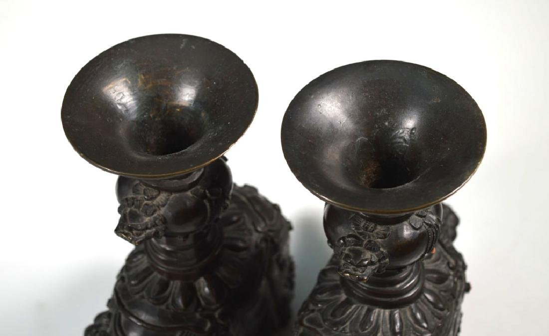 Pr Chinese Jeweled Bronze Elephants with Urns - 6