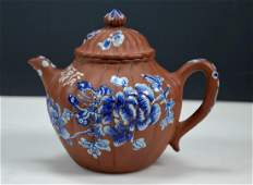 18th19th C Chinese Enameled Yixing Fluted Teapot