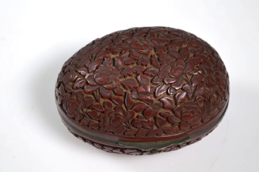 19th C Chinese Red Cinnabar Lacquer Hinged Egg Box